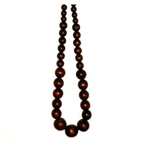 Dark Brown Wooden Beads Statement Necklace